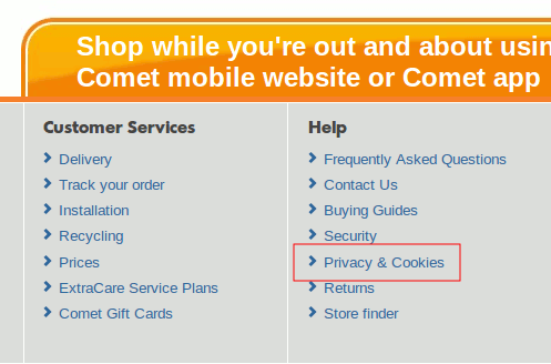 Comet cookie policy page link