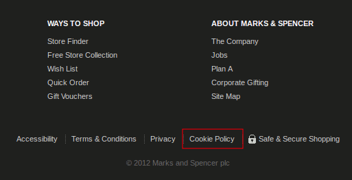 Marks and Spenser cookie policy page link