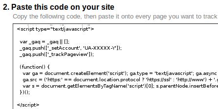 Analyitics code provided by Google