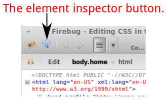 Firebug element Inspector button