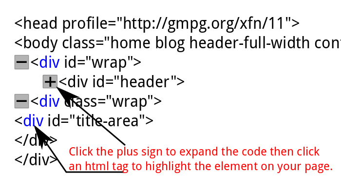 Choose the page elements to edit in Firebug