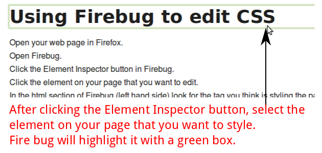 Select an element to style with Firebug