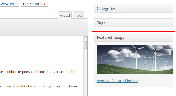 Adding a featured image.