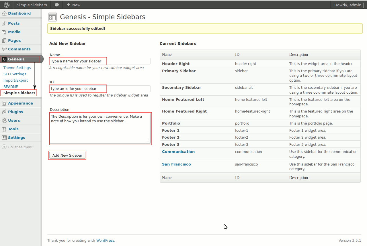 Genesis simple sidebars tutorial. Add a new simple sidebar.