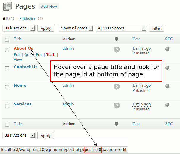 Find page id