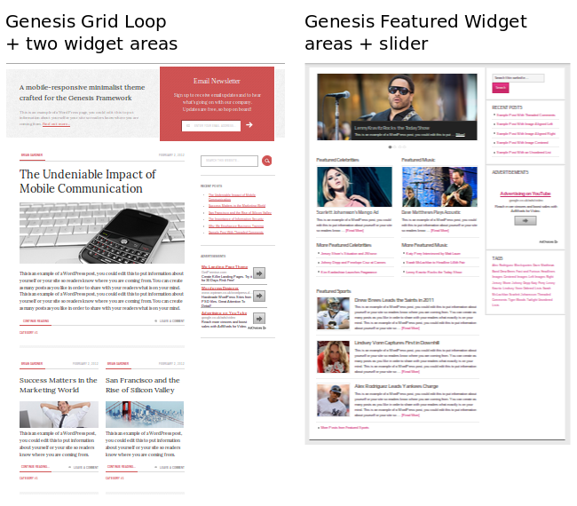 Grid loop and Genesis featured post widget side by side.