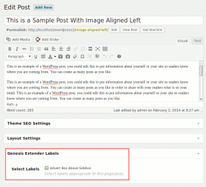 Assigning a label to a page or post in Genesis Extender Plugin
