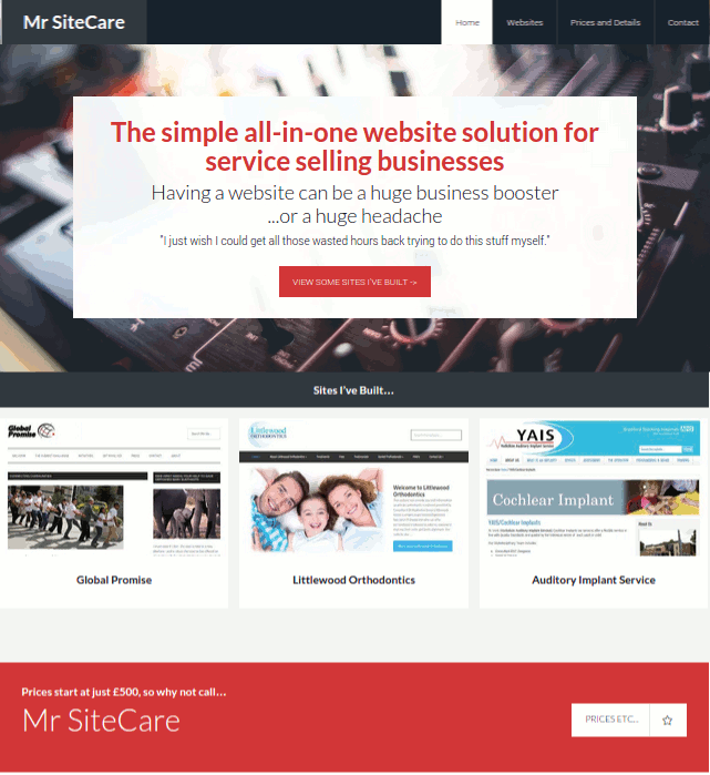 Websites built and maintained by Mr SiteCare