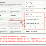 Go to Appearance > Widgets and drag the Featured page widget into Home – Top widget area and Home – Middle widget area. Do this 3 times for each widget area.