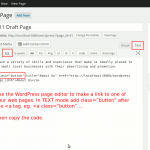 Make a HTML text link with a class of button using the WordPress Editor