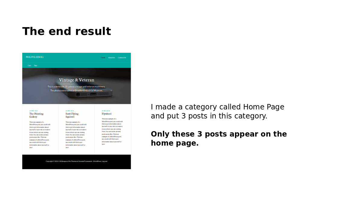 The end result a customized wordpress query