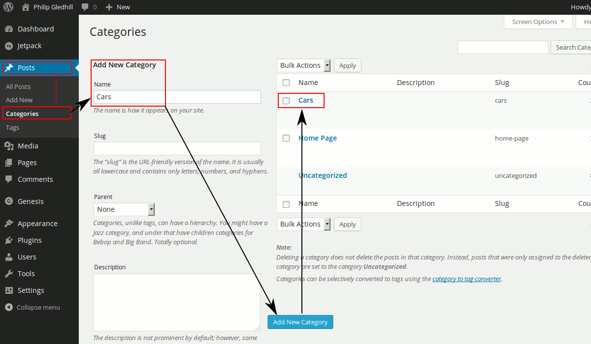 Add a new category to WordPress