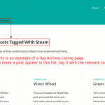 A WordPress tag archive listing page