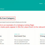 A WordPress category listing page
