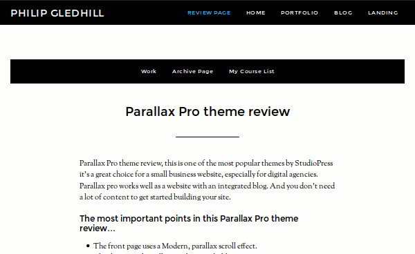 Primary navigation – Parallax Pro theme review
