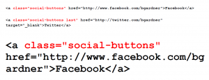Metro Pro theme HTML code for social media buttons