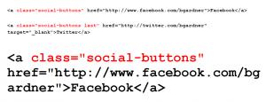 Metro Pro theme HTML code for social media buttons