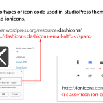 Dashicons and ionicons used in StudioPress themes