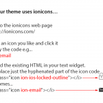 Ionicon code for StudioPress themes