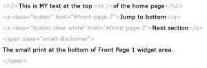 Altitude Pro Front Page 1 text widget content