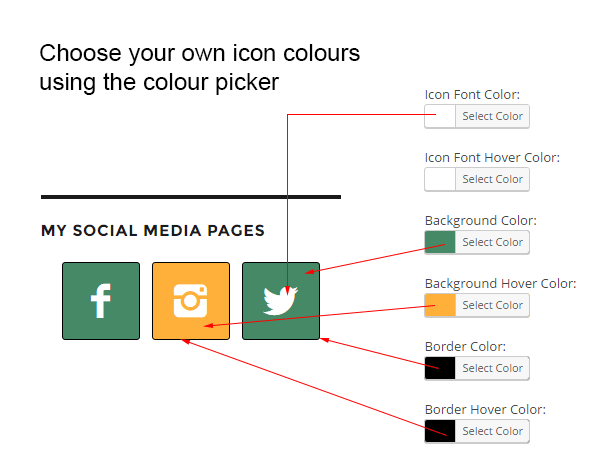 Choose the Simple Social Icon colours
