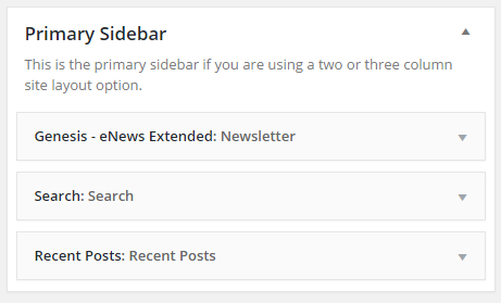 The three widgets in Executive Pro primary sidebar