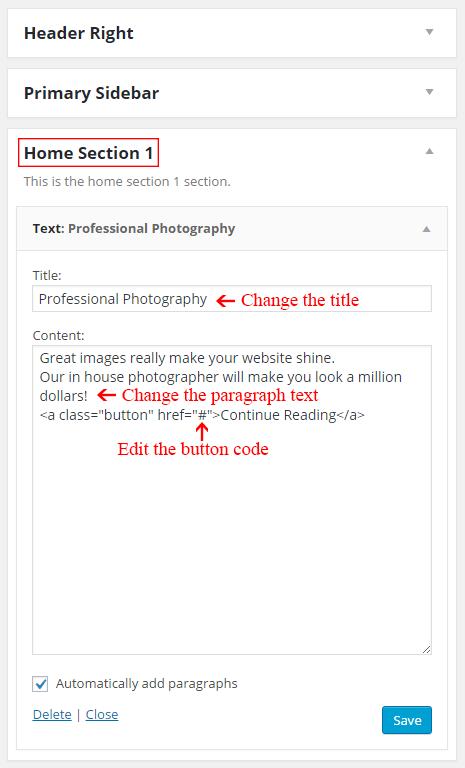 Edit the text widgets in Parallax Pro theme