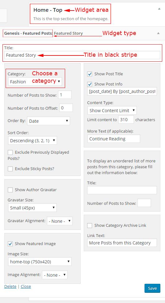 Magazine Pro home top widget area settings