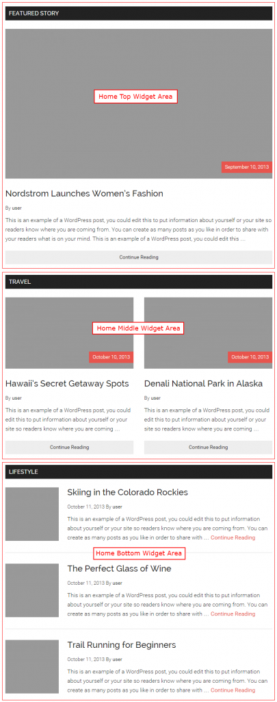 Magazine Pro home page content area contains three Genesis Featured Posts widgets