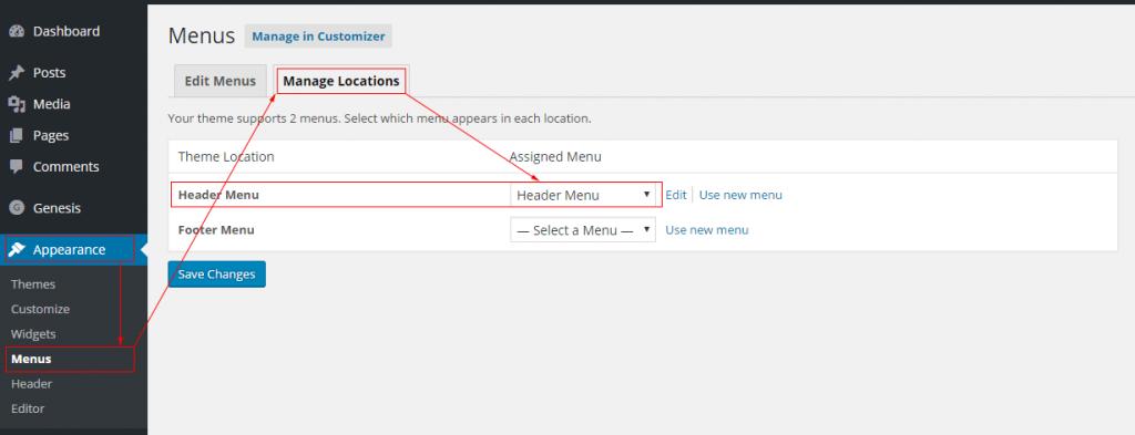 Setting the header menu in Digital Pro