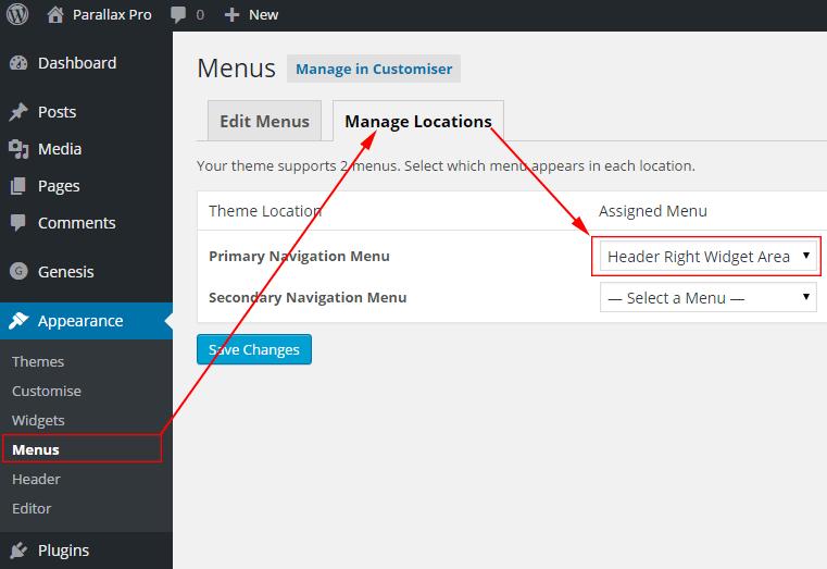 Parallax Pro menu manage locations