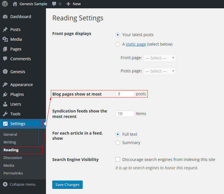 Settings reading blog pages show at most