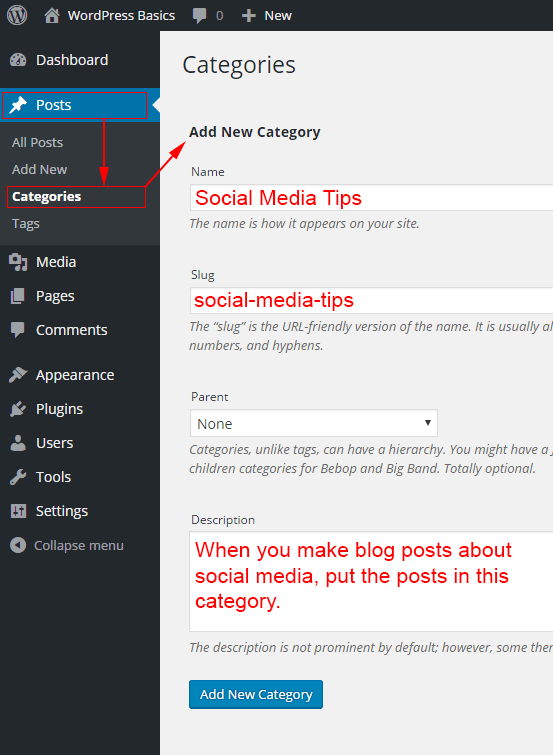 add-AAdding a new category via the WordPress dashboard