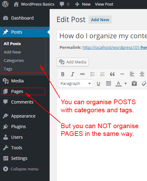 Posts can use categories and tags. Pages can not use categories or tags