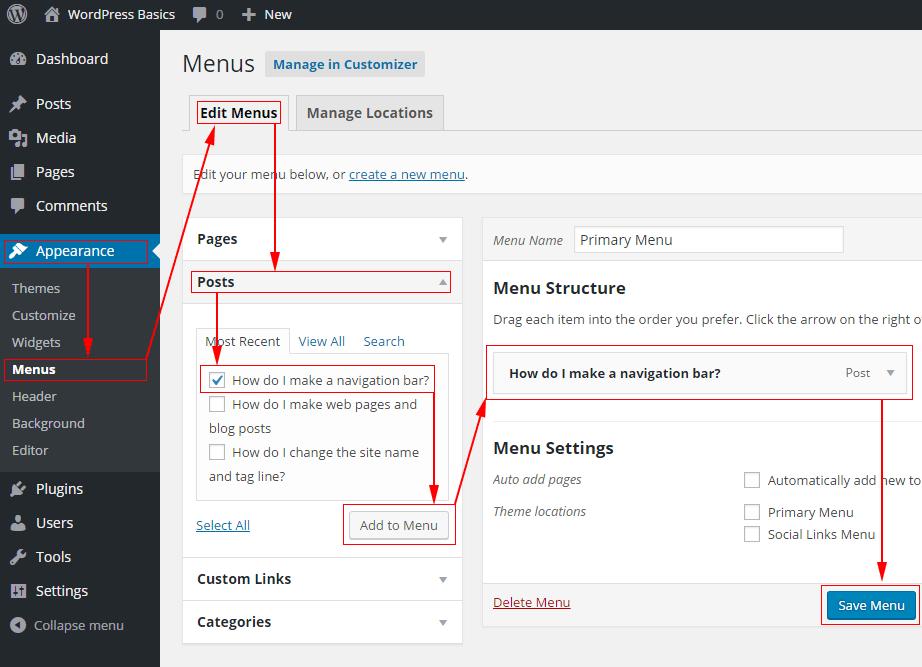 Adding a post to a WordPress menu