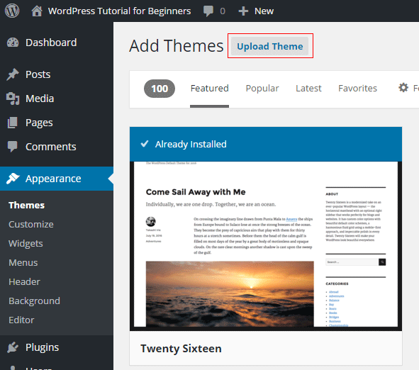 Appearance Themes Upload Button