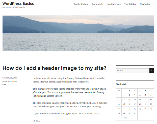 The Header Image in the Twenty Sixteen theme