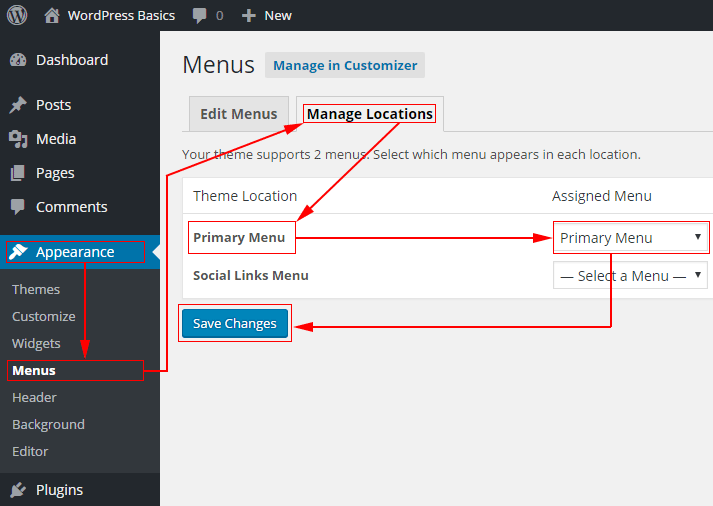 Choose the menu to use for your main navigation bar in WordPress using Manage Locations tab