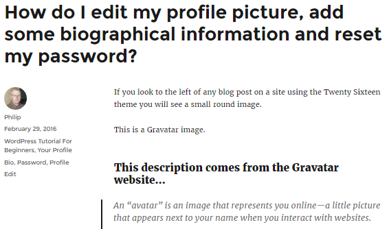 Your Profile image and a list of categories and tags used in this post