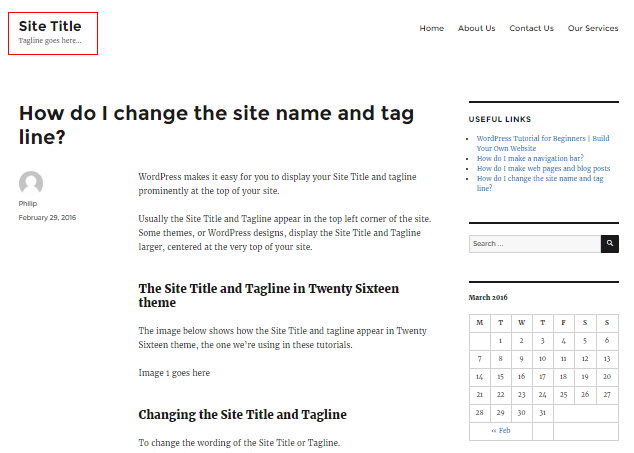 The Site Title and Tagline in Twenty Sixteen theme
