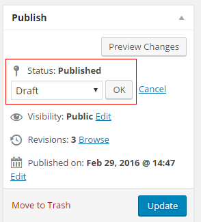 You can choose draft or published from the drop down box