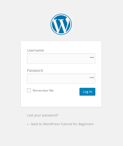 The WordPress Login Page
