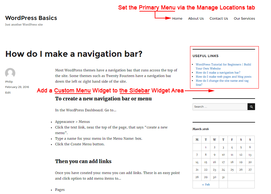 Twenty Sixteen theme with top navigation bar and custom menu in sidebar