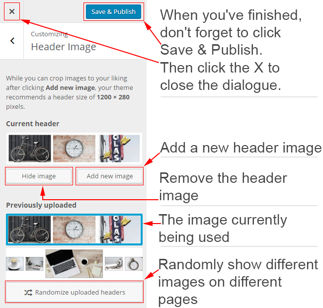 Different options available in the Header Image dialogue box