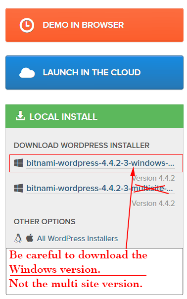 Download the Bitnami WordPress local installer