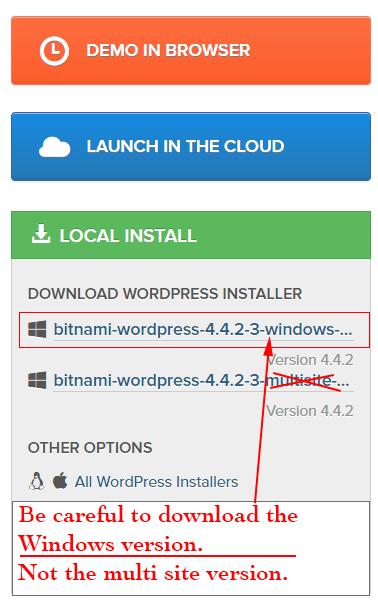 Download the Bitnami WordPress local installer