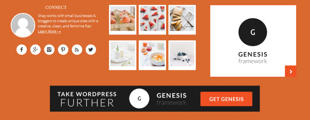 Footer widget area in Foodie Pro