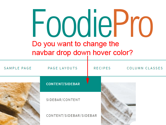 Foodie Pro navbar drop down background color