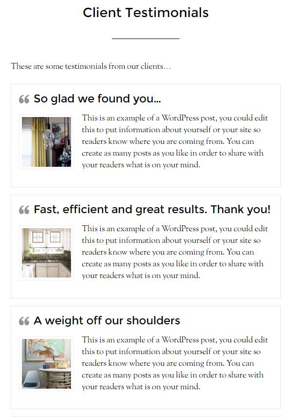 Client Testimonials Page