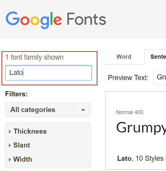 Searching for a font on Google Fonts